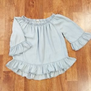 Jane & Delancey Puff Sleeve Chambray Top M